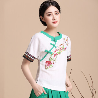 Aomasiting national style Chinese clothing improved slimming Top cotton linen shirt (White)