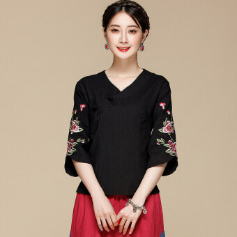 Aomasiting national style summer slimming embroidered Top cotton linen shirt (Black) (Black)
