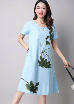 Artistic cotton linen New style Plate buttons short sleeved dress (Light blue)