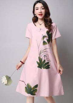 Artistic cotton linen New style Plate buttons short sleeved dress (Pink)