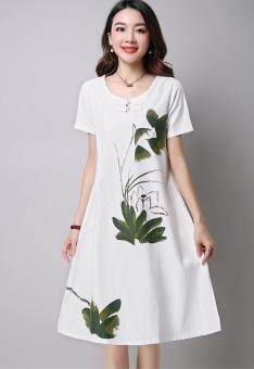 Artistic cotton linen New style Plate buttons short sleeved dress (White)
