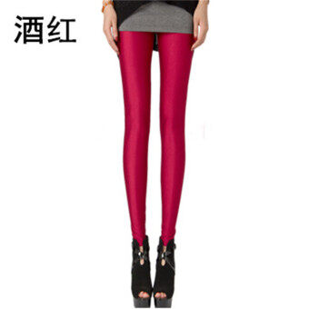 Autumn and Winter Plus velvet thin female outerwear ankle-length Pants pants (Wine red color (not Plus velvet))