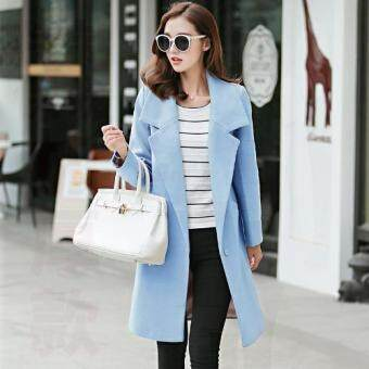 Autumn and winter women's slim fit Wool coat Korean Style LapelLong sleeve Casual Jacket Outwear Fashion Wool Blazer-Blue