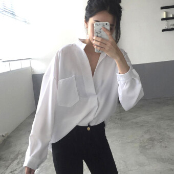 Autumn dress New style temperament big v-neck white shirt female long-sleeved Han Fan loose Korean-style shirt student chiffon Top tide (White)