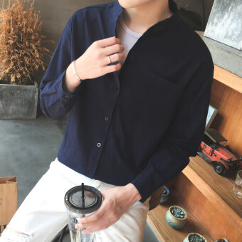 Autumn long-sleeved shirt men Loose collar Linen Half sleeve shirtTeenager Korean-style Stylish linen on the clothes (Dark blue color(long-sleeved models))