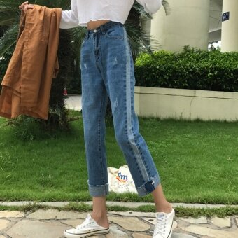 Autumn Women's Korean-style side of the Spell color striped straight jeans BF wind loose curling pantyhose Slimming effect denim pants tide