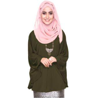 Azzara Cottons Silky Kaftan Top - Olive Green