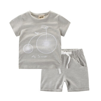 Baby Boys suit summer promotional short-sleeved t-shirt two-piece Sets (T9725 beige) (T9725 beige)
