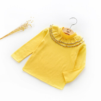 Baby high collar lace T-shirt girls Top (Yellow) (Yellow)
