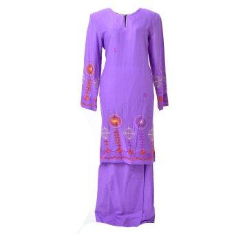 Baju Kurung Moden - Cotton Embroidery - 1186 - F7 (Light Purplee)