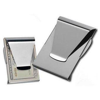 Bluelans 1Pc Stainless Steel ID Card Folder Double Sided WalletHolder Slim Money Clip