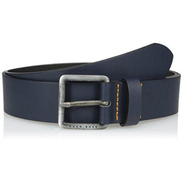 Boss Orange Mens Jeeko Italian Leather Belt, dark blue, 34 - intl