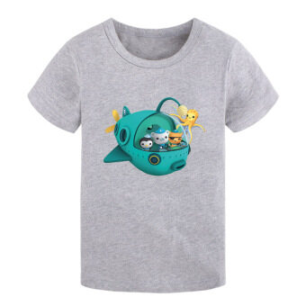 Boys children's New style round neck cotton short-sleeved t-shirt (01 gray)