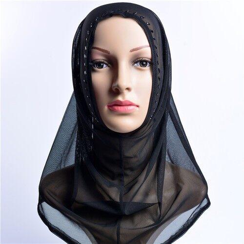 Merek Wanita Turban Yang Muslem Dibawa Ke Bor Yang Nyaman Kepala Dichromatic Arab Hitam dan Putih Satu Set mosslem Orang Syal 2016 Musim Gugur-Internasional