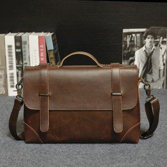 Business Tote Single Shoulder Large Capacity Leather Bag for Men (coffee)