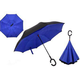 C shape handle Double Layer Inverted Umbrella Dark Blue
