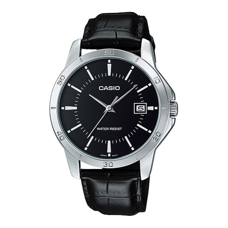 Casio Standard Mens Black Leather Strap Watch MTP-V004L-1A Malaysia