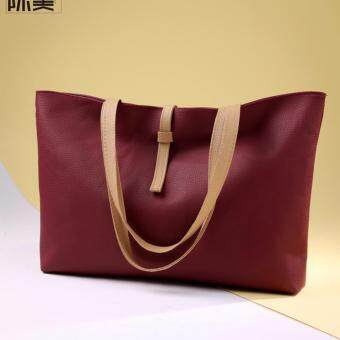 Casual Korean Women Female Ladies Working Office Mommy Bag Fashion All Match High Quality Big Top Handle PU Leather Shoulder Bag With Zipper (Red)