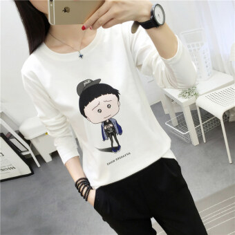 Chic College Wind girls Slimming effect long-sleeved Top bottoming shirt (172 * white)
