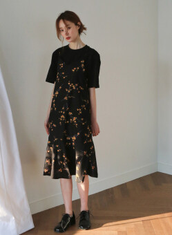 Chic style strap flowers chiffon skirt (Black dress) (Black dress)