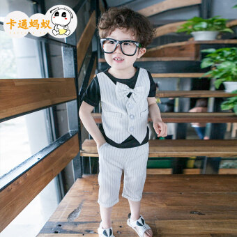 Children's clothing boys summer baby children's short-sleeved suit2017 New style children clothes two-piece sets tide (White)