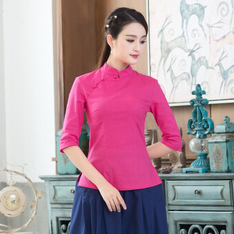 Chinese cotton linen improved in costume Top (Rose color)
