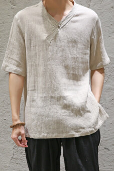 Chinese-style Chinese cotton linen short sleeved plate buttons Top T-shirt (Off-white color)