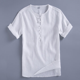 Chinese-style cotton linen solid color plate buttons costume T-shirt linen shirt (White)