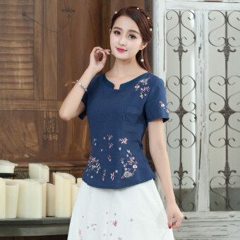 Chinese-style national style Slim fit slimming short sleeved t-shirt cotton linen Top (Blue)