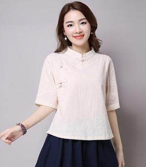Chinese-style retro half sleeved plate buttons tea T-shirt shirt cotton linen Top (Beige) (Beige)