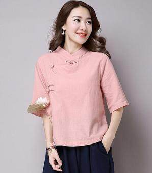 Chinese-style retro half sleeved plate buttons tea T-shirt shirt cotton linen Top (Pink) (Pink)