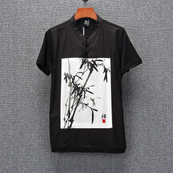 Chinese-style tx996 Thin Plate buttons ink painting Slim fit Top T-shirt (Black)