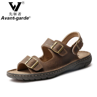 Clearance summer leather men sandals leather sandals everydaycasual men's shoes buckle with flat sandals men's (Dark brown)