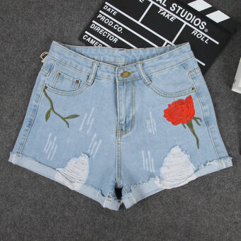 College style summer embroidered three points shorts New style shorts (Light blue)
