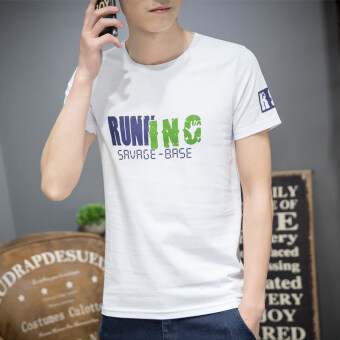 Cotton round neck Slim fit Print bottoming shirt T-shirt (Run short-sleeved white) (Run short-sleeved white)