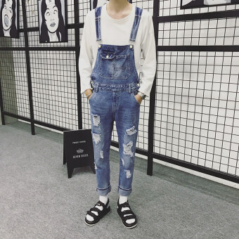 Couple's overalls strap pants small male pants suspender pants