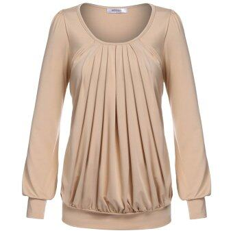 Cyber Meaneor Women Long Sleeve Scoop Neck Front Drape Casual Blouse Shirt Top ( Camel )