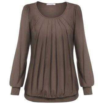 Cyber Meaneor Women Long Sleeve Scoop Neck Front Drape Casual Blouse Shirt Top ( Khaki )
