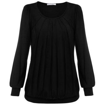 Cyber Meaneor Women Long Sleeve Scoop Neck Front Drape CasualBlouse Shirt Top ( Black )