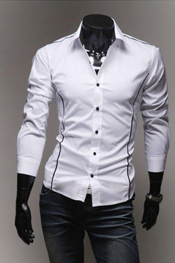 Cocotina business casual dress slim fit shirts wine red for Business casual white shirt