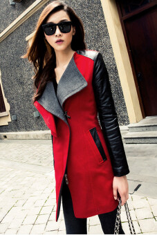 Cyber Winter Warm Women Ladies Big Lapel Collar Coat Long Leather Sleeve Jacket Parka Trench (Red)