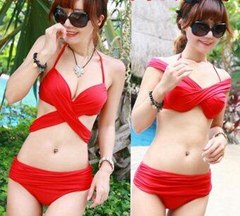 Elegant Lady Swimming Clothes set 2 pieces Holiday Beach Wear Pikini Swimwear Body Carved High Waist Plus Size Bathing Suit Swimsuits Red