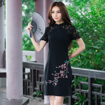 Elegant National Style Features lace porous sleeves skirt elegant Slim fit dress