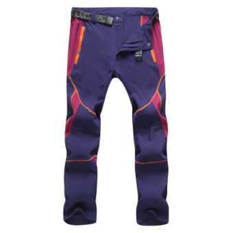 Every day special outdoor quick-drying pants for men and womentrousers Slim fit summer stretch jacket pants thin loosemountaineering pants (Female models purple)