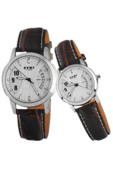 Eyki Couple Brown Leather Strap Watch EY8408X2-2 Set of 2