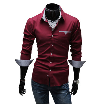 Fashion Brand Men Clothes Slim Fit Men Long Sleeve Shirt men purecolor Plaid Cotton Casual Shirts Red for Formal Ocasion