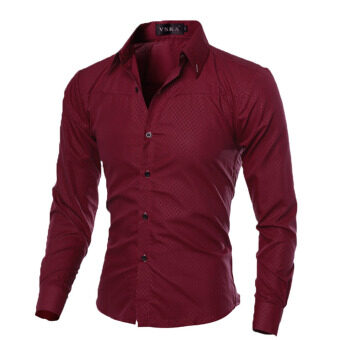 Fashion Mens Slim Fit Shirt Long Sleeve Dress Shirts Casual Shirts (Wine Red)