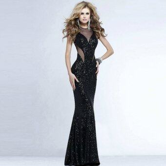 Fashion Sexy Women Dress Female Wedding Casual Dress Party EveningSequined Backless Long Dress Corset Black