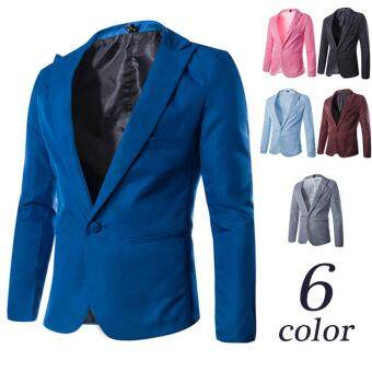 Fashion Stylish Men's Blazer Coat Jacket Casual Slim Fit One ButtonSuit - Blue