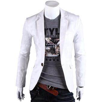 Fashion Stylish Men's Outwear One Button Casual Slim Fit BlazerCoat Jacket Suit [White] - Intl